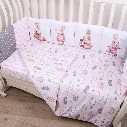 """Комплект в кроватку ПАННО 6 предм. """"Зайчонок""""(розовый)"""