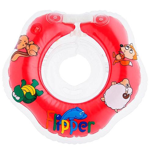 Надувной круг на шею для плавания малышей Flipper 0+ (красный)