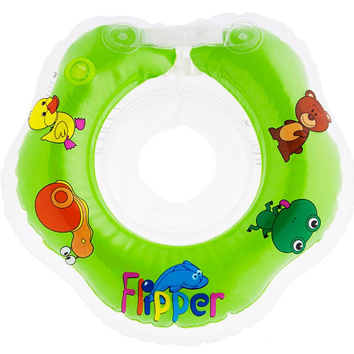 Надувной круг на шею для плавания малышей Flipper 0+ (зеленый)
