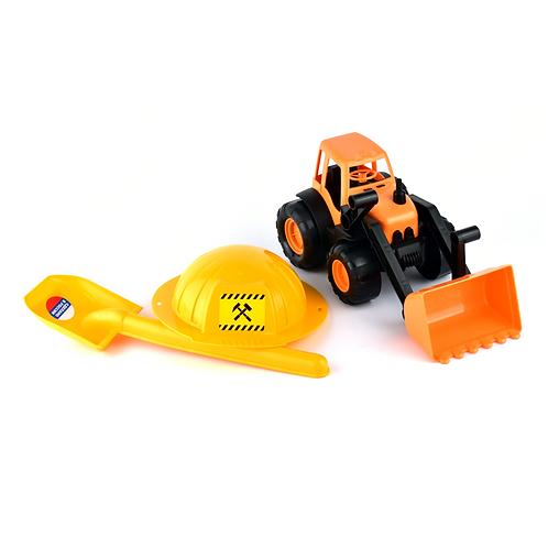 Трактор с каской и лопатой, в сетке, 36*24*21 см