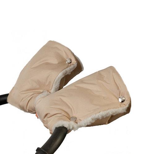 Муфта - рукавички для рук на коляску (мех) (бежевые)