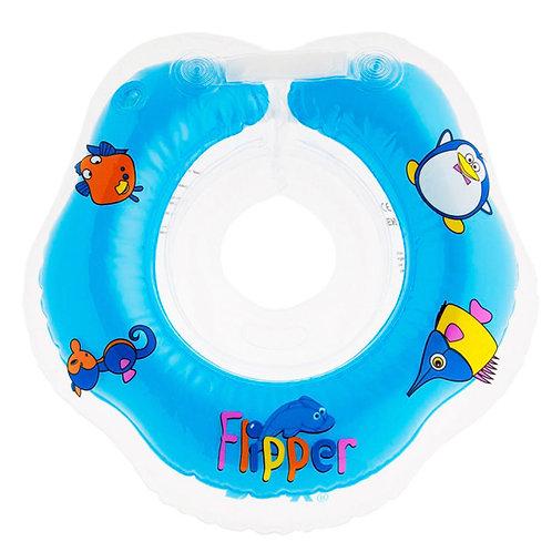 Надувной круг на шею для плавания малышей Flipper 0+ (голубой)