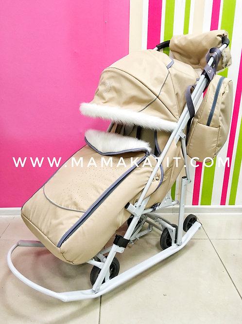 Санки-коляска Pikate Снеговик, бежевый