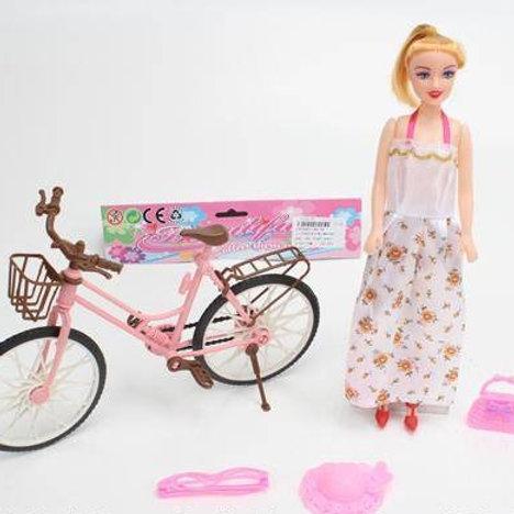 Кукла на велосипеде, с аксесс. в/п 24,5*8*17,5 см.