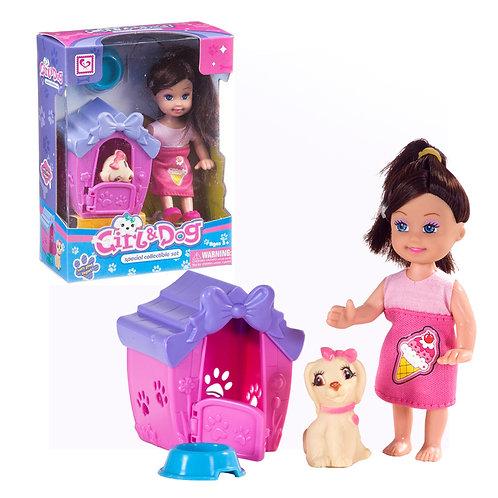 Кукла с собачкой, в/к 12*6*16 см.