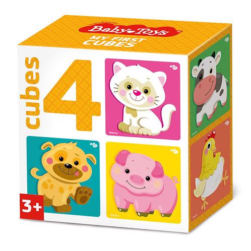 """Кубики """"Домашние животные"""" (без обклейки) 4 штуки, в коробке"""