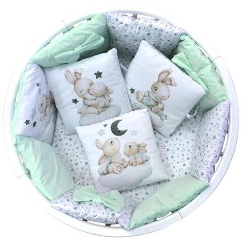 Комплект в кроватку 18 предметов, мятный (зайчики)
