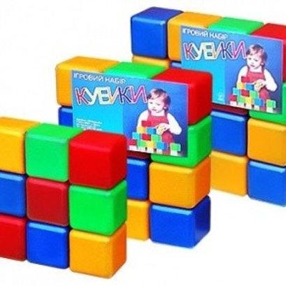 Набор кубиков цветных, 9 элементов, кубик 6 см, 17,5*17,5*6 см