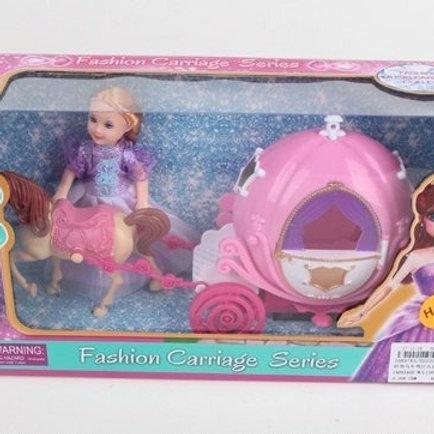Карета с лошадкой, в комп. кукла, звук. и свет. эффекты, в/к 31*8*17,5 см.