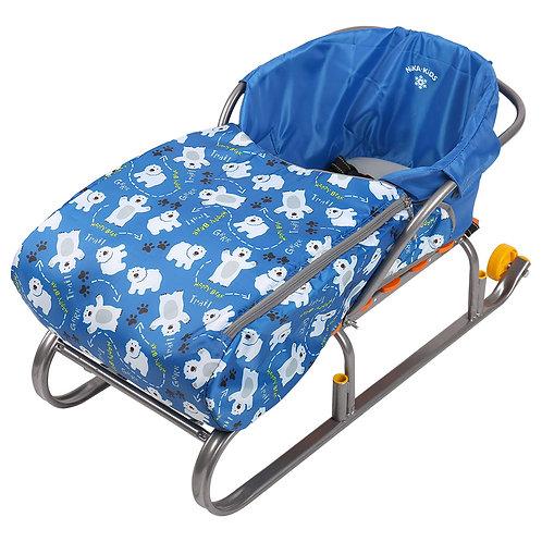 Сиденье для санок с чехлом для ног, синий (медвежата)