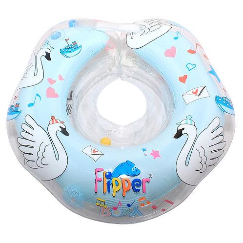 """Надувной круг на шею Flipper 0+ с музыкой """"Лебединое озеро"""" голубой"""
