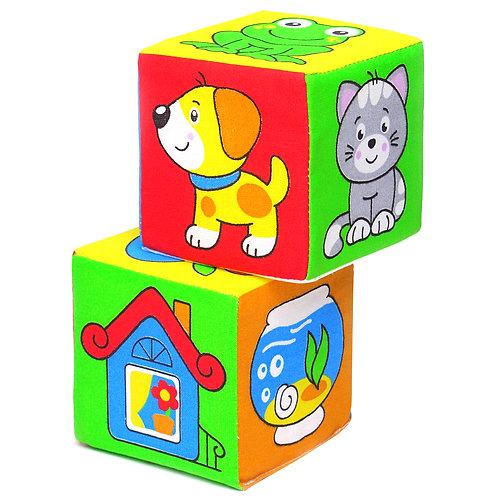 """Игрушка кубики """"Мякиши"""" (Чей домик?), в пакете, 17*22*8 см"""