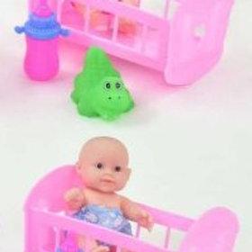 Пупс, в комп. кроватка, бутылочка, игрушка, в/п 8*13*9,2 см.