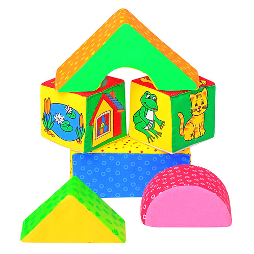 "Игрушка кубики ""Мякиши"" (Домики), в пакете, 16*23*6 см"