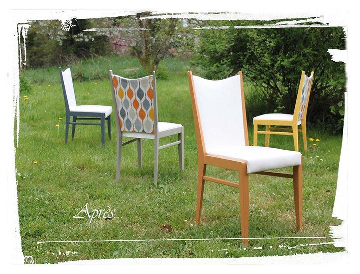 Ensemble 4 chaises vintage