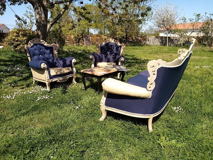 Canapé et fauteuils capitonnés relookés