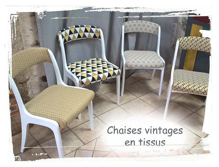 4 chaises vintage en tissu