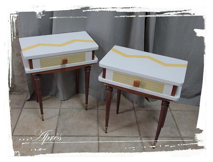 Paire de tables de nuit vintage