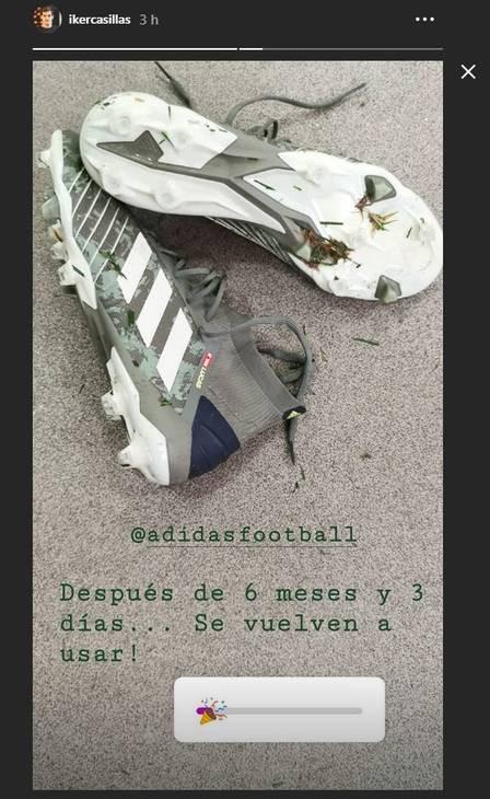 Casillas publicou fotos das chuteiras seis meses após infarto