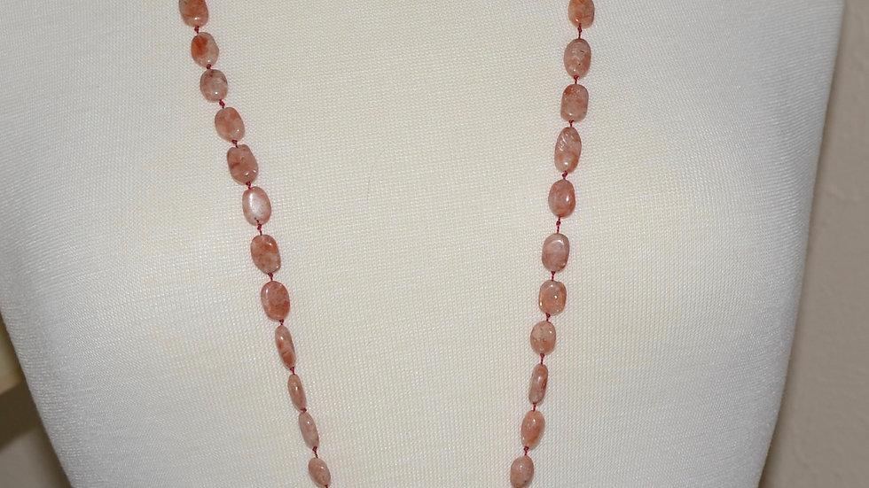 Super Long Sunstone and Clear Quartz Tassel Necklace