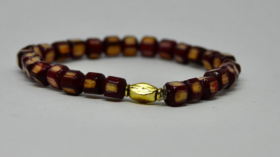 Red Japanese Bamboo Bead Bracelet