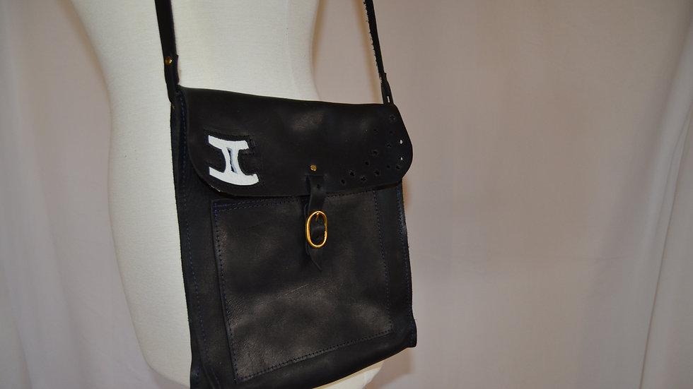 Black Leather Gemini Shoulder Bag