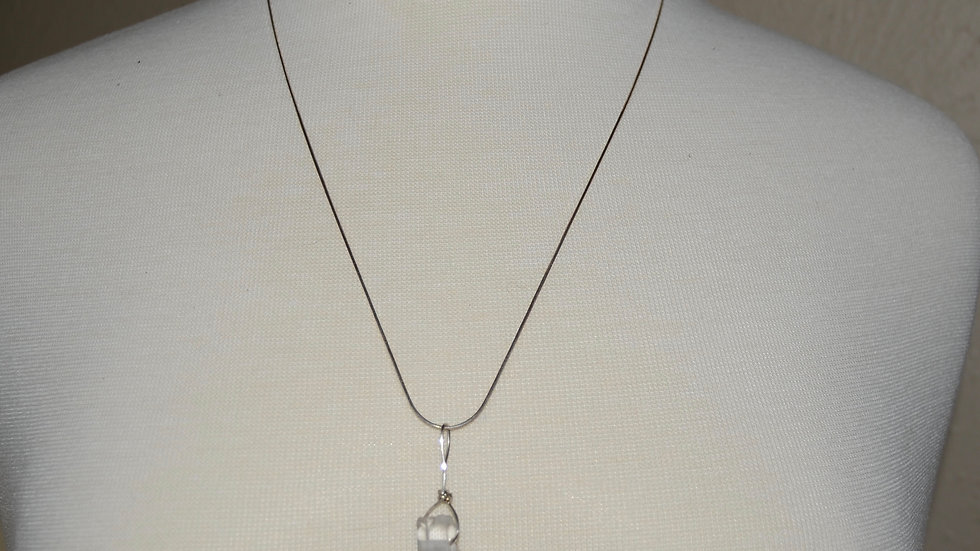 Simple Quartz Point Drop Necklace on Sterling Silver Chain
