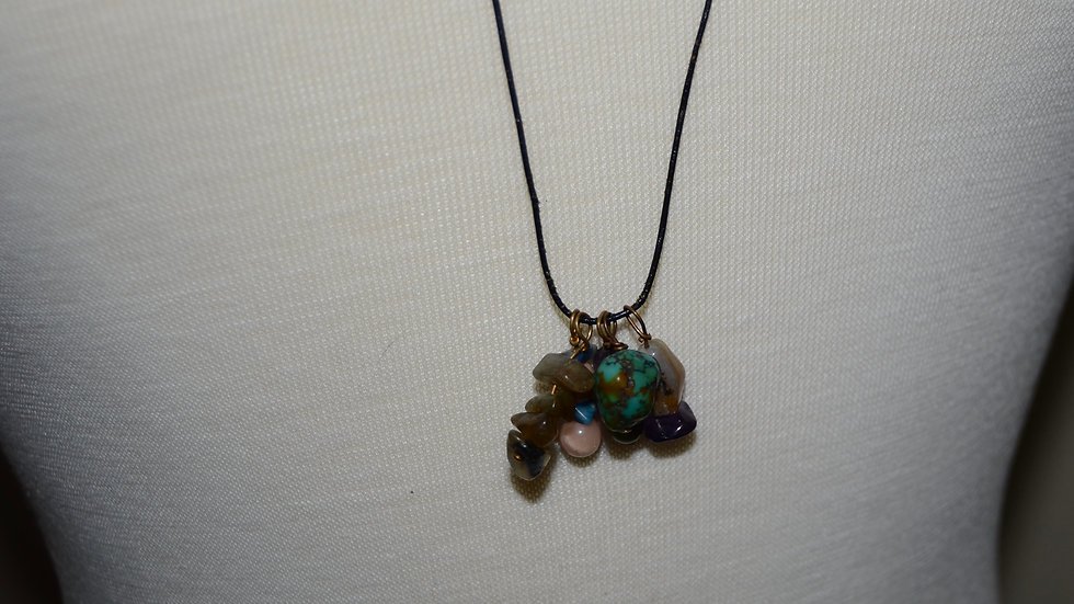 Long Drop Necklace with Dangling Beads