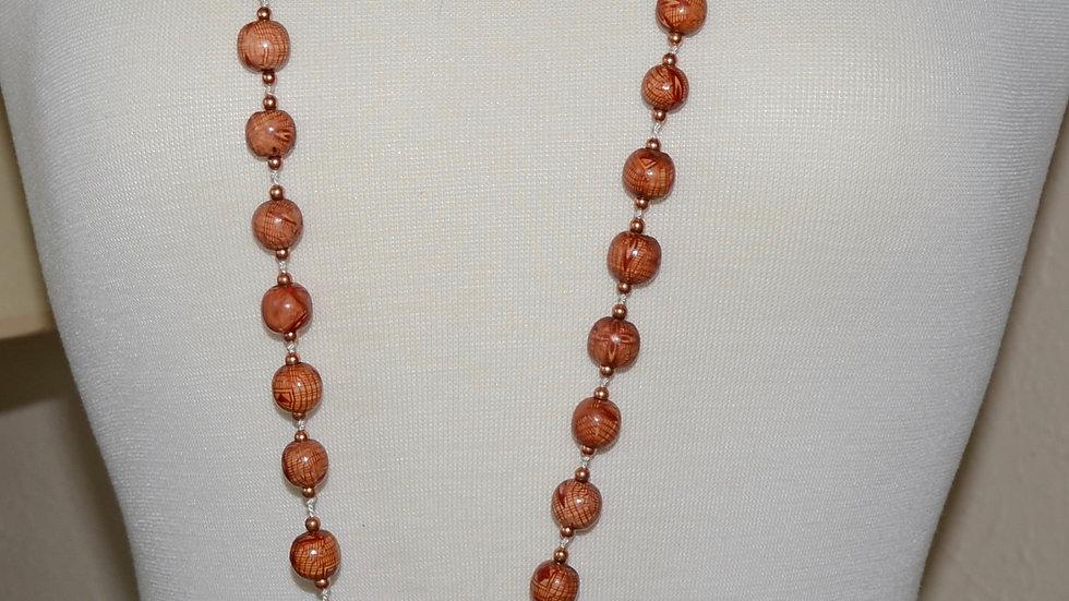 Wooden Bead Tassel Necklace