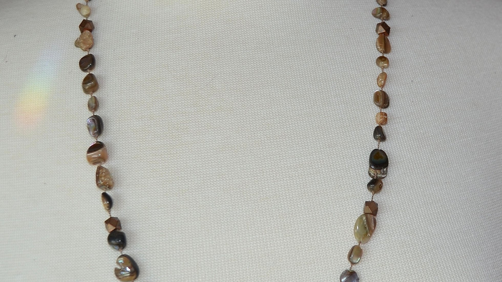 Long Abalone and Copper Bead Necklace