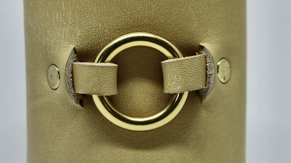 White Leather and Circle Cuff