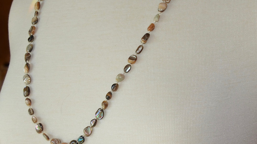 Long Abalone and Ethiopian Metal Bead Necklace