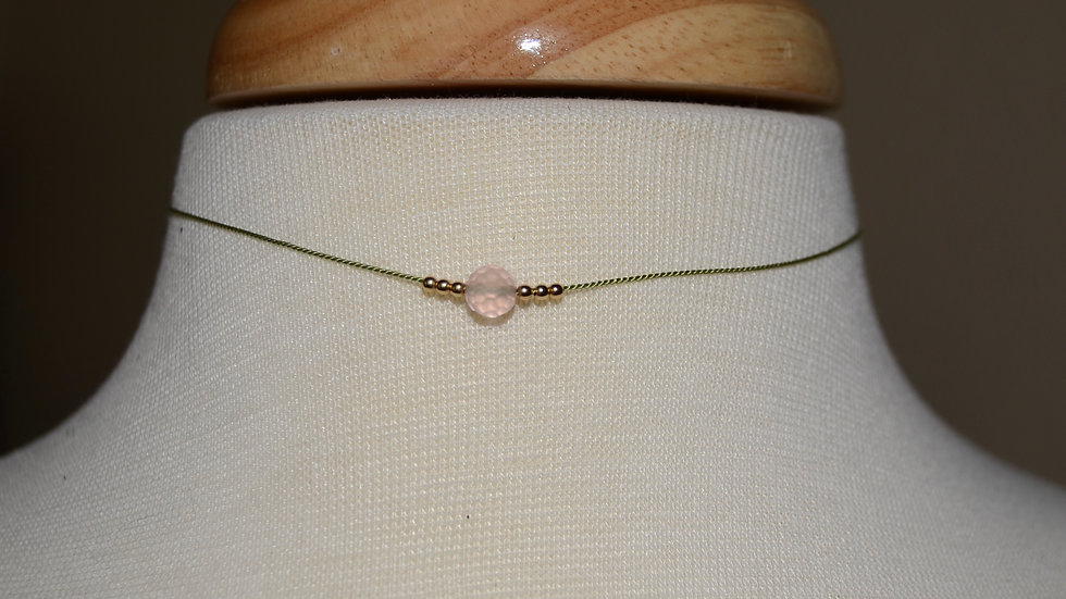 Child's Vintage Bead Rose Quartz and 14kt Gold Bead Necklace