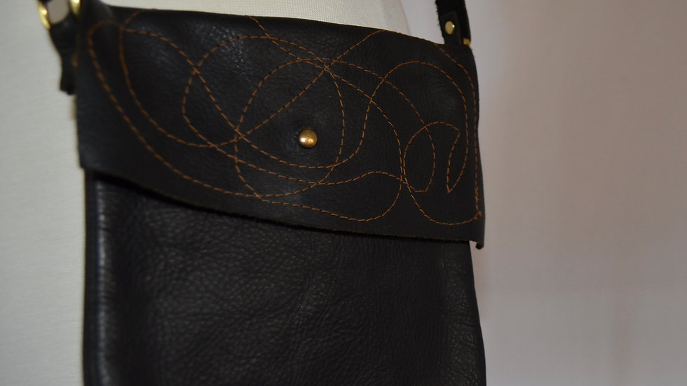 Small Black Leather Cross Body Bag -Path of the Dragonfly