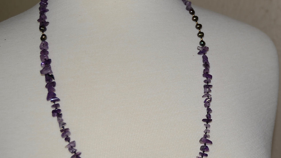 Amethyst and Black Pearl Necklace