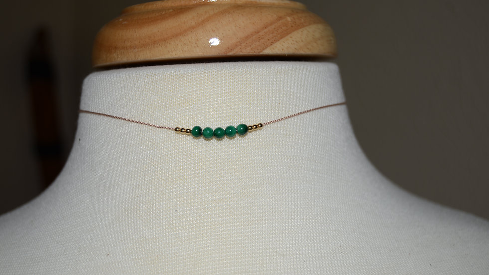 Malachite Necklace with 14 Kt Gold Beads