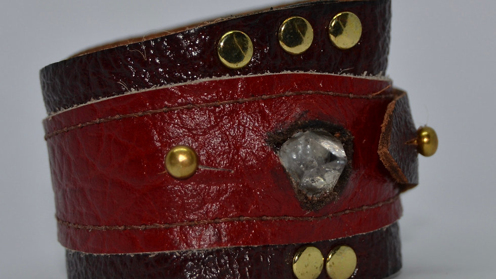 Red and Brown Herkimer Diamond Cuff