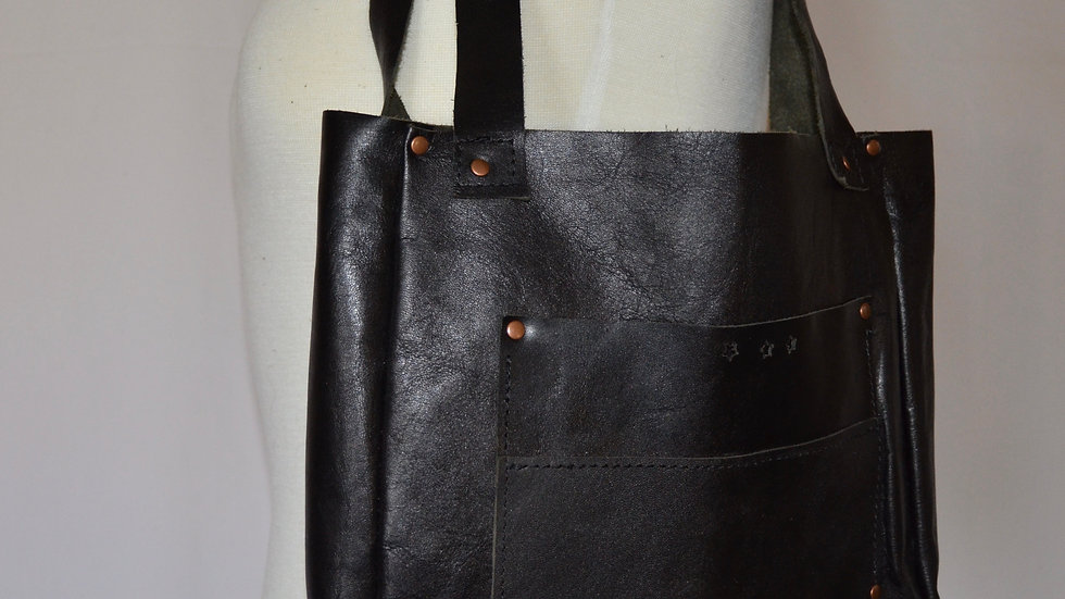 Black Leather Star Tote