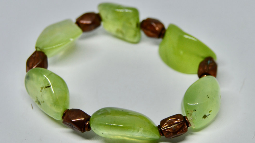 Prehnite and Copper Bead Bracelets