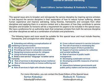ServCollab is proud to announce the Special Issue of Journal of Services Marketing