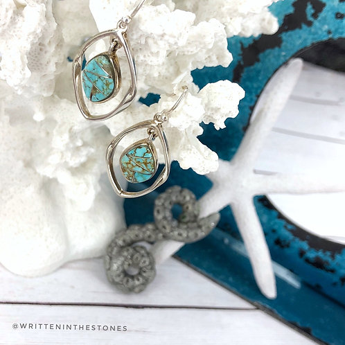Sierra NevadaTurquoise Medium Drop Earrings with silver inlay