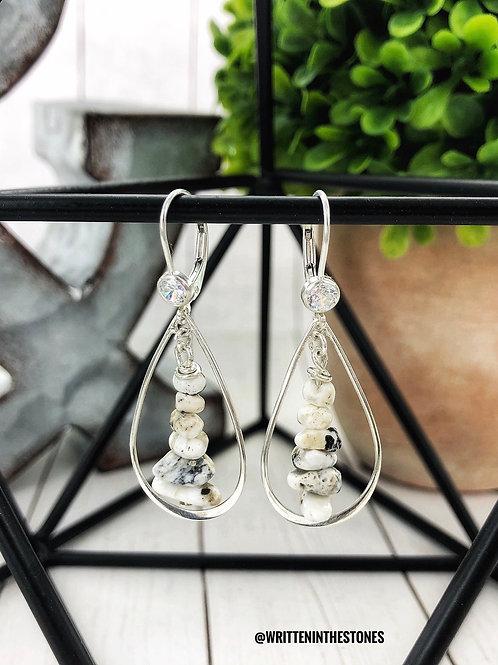 Teardrop Stone Cairns {White Buffalo} Earrings