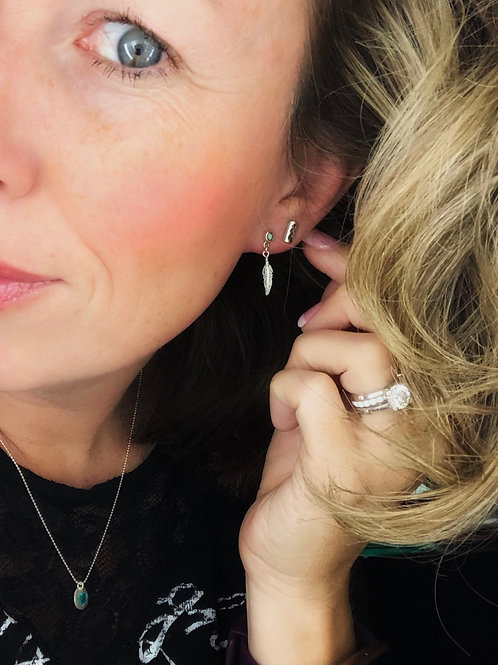 Wild & Free {small turquoise feather stud earrings}
