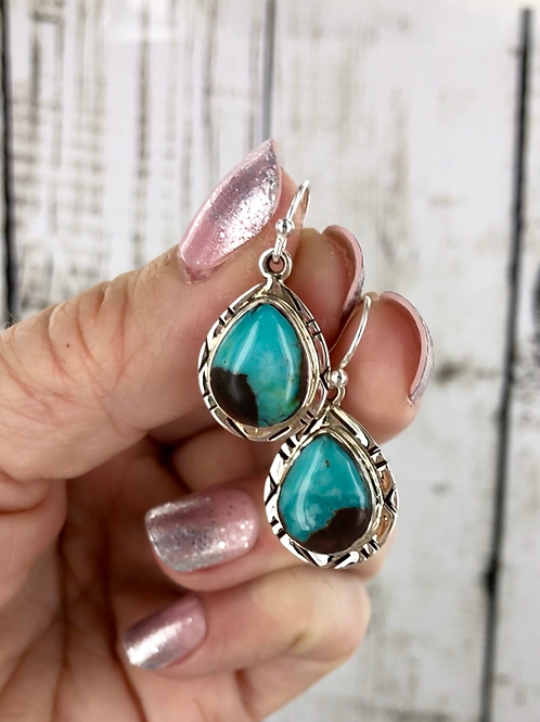 Dark Moon Rising {Blue Moon} turquoise earrings
