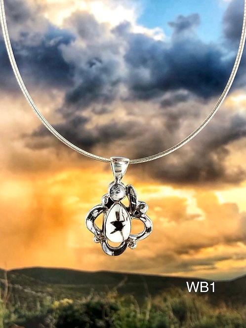 Ornate Teardrop {White Buffalo} pendant