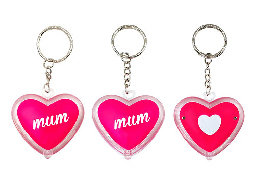 Mum - Heart Shaped LED Torch Key Ring