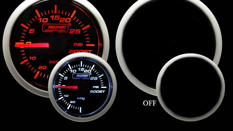 52mm Amber / White Electrical Boost Gauge PSI