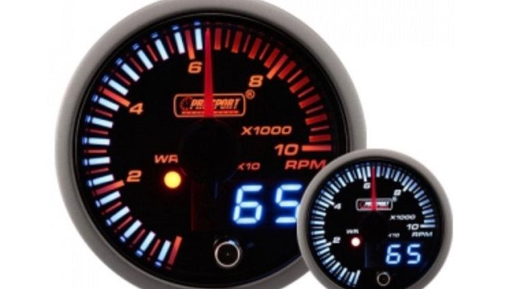 52/60mm JDM Dual Stepper Motor Warning Rev Counter 0-10,000 Rpm