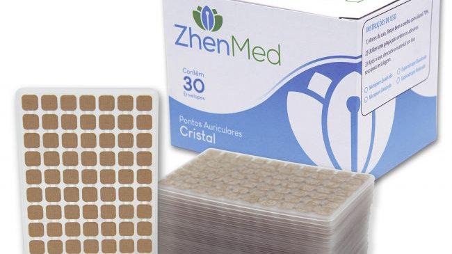 Ponto Prata para Auriculoterapia - Caixa com 30 placas | ZhenMed