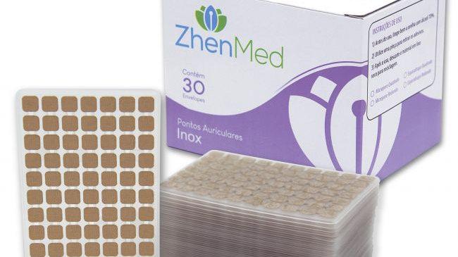Ponto Inox para Auriculoterapia - Caixa com 30 placas | ZhenMed